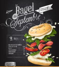 Food Poster Design, Menu Design, Food Design, Chalk Menu, Chalkboard Art, Resto Vegan, Burger Games, Bagel Bar, Carpaccio
