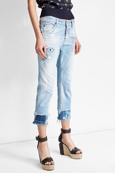Distressed Cropped Jeans - Dsquared2 | WOMEN | US STYLEBOP.COM
