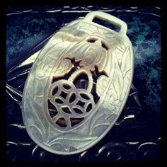Chinese bat mother of pearl shell fob. Collection of Stephen Parfitt, Springfield Illinois.