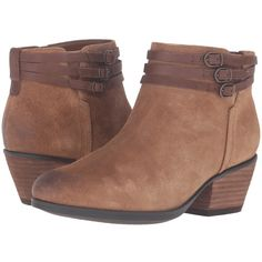 Clarks Gelata Siena (Tan Suede) Women's  Boots ($140) ❤ liked on Polyvore featuring shoes, boots, ankle booties, ankle boots, western ankle boots, tan suede boots, faux suede boots, suede ankle boots and suede booties