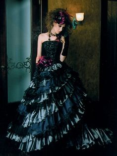 Noir and gothic: black dresses with a dark side | Offbeat Bride #steampunk #bride #wedding