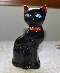 Vintage Hand Painted Black Cat w/ Bow Tie Figure Redware Shafford Japan?