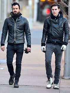 The two Therouxes were spotted walking in step in N.Y.C. Monday, and it's clear that they share more than just good looks. From their cool-guy hoodies worn beneath zipped leather jackets to their skinny jeans and lace-up workman boots, they seem to have inherited the same style gene.