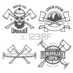 Set Of Vintage Lumberjack Labels, Emblems And Design Elements Royalty Free Cliparts, Vectors, And Stock Illustration. Image 22583251.