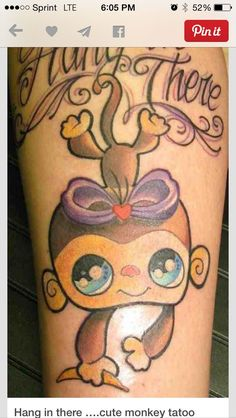 b29f81dd30f06 Cartoon Monkey Tattoos Girls Super cute monkey tattoo idea tattoos ...  Sweet Tattoos,