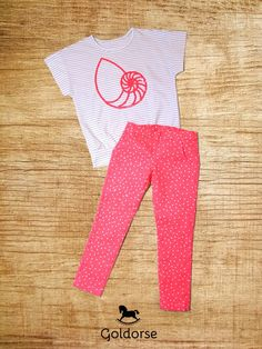 Snail and stars. Handmade summer set which include the thin jersey T-shirt and the stretch watermelon jeans with tiny stars.