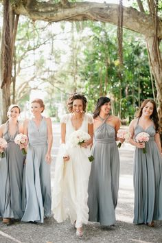 Gorgeous bridesmaids at this outdoor reception.