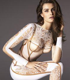 Isabeli Fontana for La Perla AW2015 (InsideOut concept: the Frames tulle bustier worn on the Neoprene Desire jumpsuit) ~ Photo by Mert Alas & Marcus Piggott