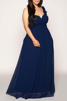Fully Lined Navy Evening Gown Hand-made floral appliqué shoulder strap detail Zipper located in the back Does not stretch, hence recommend measuring yourself for a perfect fitFree customized to your size for no additional cost, available in sizes Navy Evening Gown, Strapless Dress Formal, Formal Dresses, Applique, Gown Dress, Detail, Shoulder, Floral, Clothes