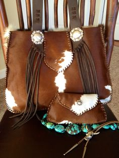 Bonnie Bag using the customers own calf hide. Custom orders are always welcome. Order your one of a kind cowhide purse at gowestdesigns.us