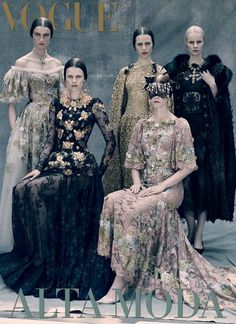 kat, kayley, tess, irina, irene, esther and magdalena by paolo roversi for vogue italia couture supplement september 2013