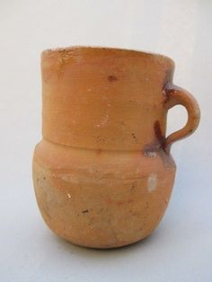 Vintage Mexican Terracotta Brown Clay Pottery Olla Pot Jug Jar Container