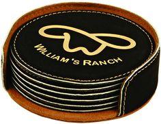 Black/Gold Leatherette Coaster Set with Custom Laser Engraving Coaster Holder, Coaster Set, Off Black, Black Gold, Black Leather, Unique Gifts, Great Gifts, Leather Coasters