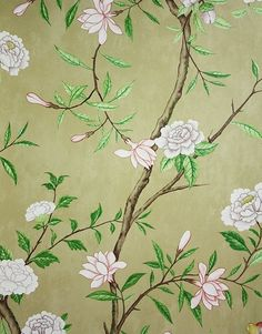 Nostell Priory Wallpaper A floral wallpaper printed with flowing branches with an abundance of flowers and foliage on an old gold background.