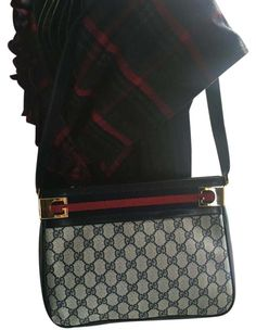 95aebd3c2b6 Gucci   hold For Elene   Vintage Navy Blue Leather Gg Coated Canvas  Shoulder Bag 77% off retail