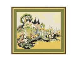 English Country Garden Counted Cross Stitch Pattern / Chart, Instant Digital Download (AP176) English Country Gardens, Counted Cross Stitch Patterns, Flower Patterns, Beautiful Flowers, Pattern Design, Vintage World Maps, Landscape, Stitches, Cottage