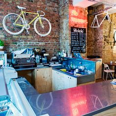 The bicycle theme is as abundant as you'd expect on the design front, and they've strayed from the shop through to the café, mounted on bare-brick walls wherever you look. Overall, a well-engineered German tandem...