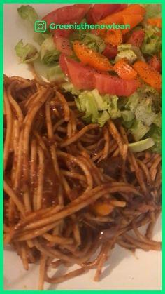 greenisthenewlean on Instagram: Having #alkaline(ish) #spaghetti and salad for dinner tonight. #kumutspaghettini #mushrooms #drsebi #peppers #onions #edenfoods…