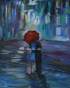 Couple in Love ART PRINT GICLEE Couple Kissing Couple Couples Painting Print Romance Romantic Umbrella Rainy Bisous via Etsy