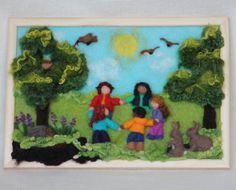 "Waldorf needle felted painting ""Summer play""by AtelierAurea"