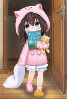 animal hood animal slippers azuki yui bangs black hair bloomers blue eyes book commentary request covering face eyebrows visible through hair hair between eyes holding holding pillow hood idolmaster idolmaster cinderella girls indoors long hair l Anime Child, Girls Anime, Anime Girl Cute, Kawaii Anime Girl, Anime Art Girl, Anime Neko, Lolis Neko, Gifs Kawaii, Baby Girl Drawing