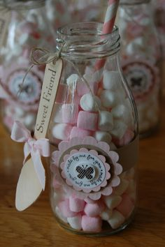 mini marshmallows in a jar Wedding Favours, Party Favors, Diy And Crafts, Paper Crafts, Baby Shawer, Ideas Para Fiestas, Baby Shower Parties, Holidays And Events, Christening