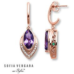 Sofia Vergara Earrings 1/5 ct tw Diamonds 10K Gold/Amethysts