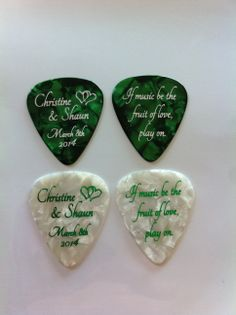 Custom guitar picks for weddings www.EGOpicks.com