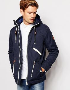 ASOS Twill Hooded Jacket In Navy | Change Clothes - Men | Pinterest