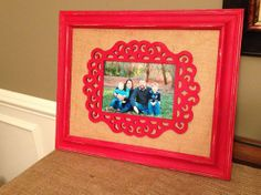 hand painted frame with burlap backing and unique wooden scroll for picture- by WilshireCollections on Etsy Framed Burlap, Picture Frames, Picture Ideas, Chalk Paint, Projects To Try, Hand Painted, Door Hangers, Handmade Gifts, Bottles