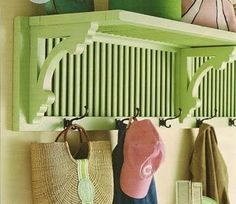 Create an entryway shelf plus coat rack by repurposing a pair of old shutters and wooden brackets. Now I just need to find some old shutters. Repurposed Furniture, Diy Furniture, Repurposed Items, Recycled Decor, Furniture Design, Shutter Shelf, Shutter Doors, Creating An Entryway, Shutter Projects