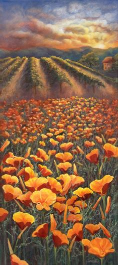 "36"" x 16"" Acrylic on gallery wrapped canvas California Poppies fill the hillsides during springtime. They are a gift to..."