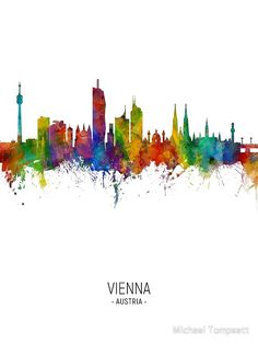Skyline Painting, Cityscape Art, Skyline Design, Skyline Art, Framed Prints Uk, Art Prints, Color Depth, Vienna Austria, Watercolor Art