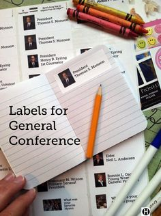 LDS General Conference Activities for Kids Labels for notes Activity Day Girls, Activity Days, General Conference Activities For Kids, Lds Seminary, Lds Conference, Kids Church, Church Ideas, Personal Progress, Visiting Teaching