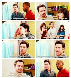 """No, I don't wash the towel, the towel washes me."" {gif} #newgirl"