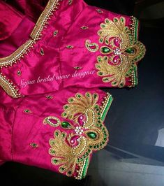 End Customization with Hand Embroidery & beautiful Zardosi Art by Expert & Experienced Artist That reflect in Blouse , Lehenga & Sarees Designer creativity that will sunshine You & your Party. Hand Work Blouse Design, Kids Blouse Designs, Wedding Saree Blouse Designs, Saree Blouse Neck Designs, Embroidery Fashion, Hand Embroidery, Embroidery Works, Peacock Embroidery Designs, Maggam Work Designs