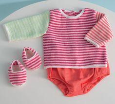 On craque pour ce modèle de pull brassière tricoté en 'baby.r.htmlstyle=text-decoration:underline;color:#6B7785;>Laine SUPER BABY' coloris cygne, berlingot, oeillet et anis au point mousse et jersey rayé. Les coloris sont parfaits pour un été chaud et doux.  Ce pull se ferme par une petite boutonnière sur le dos du pull de 2 à 5 pressions.Modèle n°27 du catalogue N°122 : Layette, Printemps/été 2015