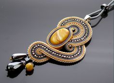 Gray yellow ecru Soutache necklace with mother of pearl by ANBijou