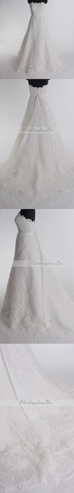 Gorgeous strapless a-line chapel train bridal gowns so simple but beautiful..