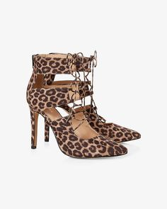 Here, kitty, kitty. Grab a head-turning, ankle-high pump in a leopard print with a sexy lace up front.