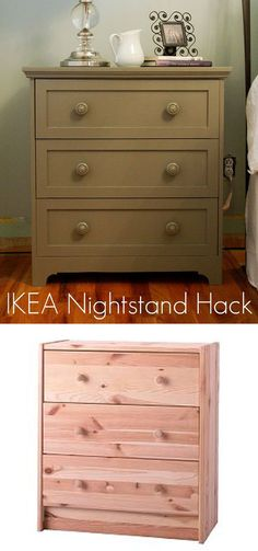 Take the Side Street: IKEA Hack Nightstand Construction Details. I am going to use this inspiration on another IKEA base set for my bedroom. Ikea Furniture, Furniture Projects, Furniture Makeover, Ikea Makeover, Dresser Makeovers, Simple Furniture, Painting Furniture, Diy Projects, Ikea Hacks