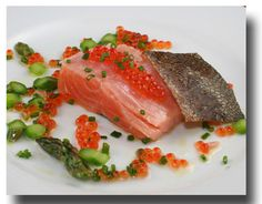 Salmon Sous Vide -- Salmon Roe, asparagus and chives by Greenmarket Recipes