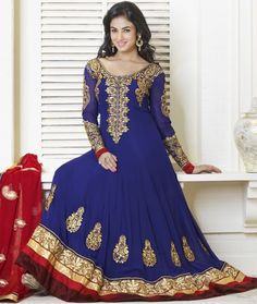 Get royal look like #SonalChauhan with #royalblue #churidar #suit  | @ $142.2