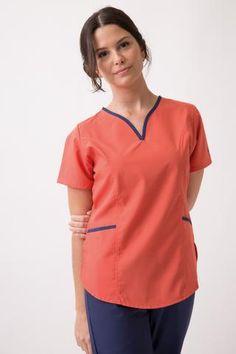 Tefi Poly azul con fucsia Doctor Scrubs, Nurse Scrubs, Dental, Caregiver, Polo Ralph Lauren, Coral, Medical, V Neck, Couture