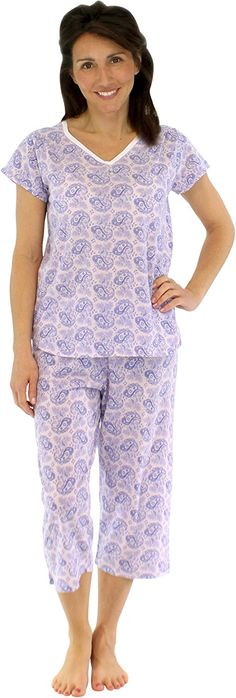8be7b5dc6b Short Sleeve and Capri Cotton Pajamas (SHCJ1730-4012-XS) at Amazon Women s  Clothing store