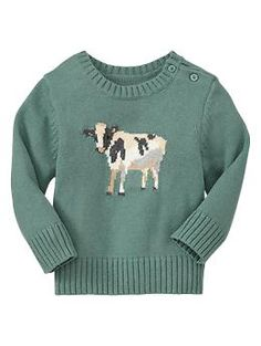 Must buy for my daughter to show her my country roots!  Intarsia cow graphic sweater | Gap