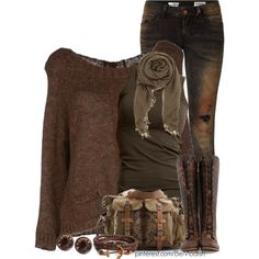 A fashion look from January 2014 featuring brown tops, shirts & tops and ripped jeans. Browse and shop related looks.