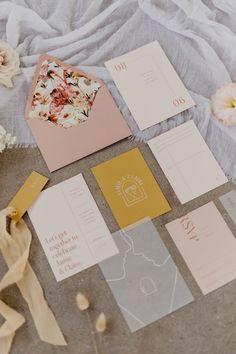 Blush, cream and mustard yellow minimalist modern design wedding invites by State Of Reverie