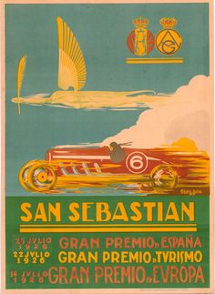Poster for the 1926 San Sebastián Grand Prix held at the Circuito Lasarte in San Sebastian, Spain on 18 July 1926. It was also designated as the European Grand Prix, and was the third race the 1926 AIACR (predecessor of the FIA) World Manufacturers' Championship season. The Delage 155B made its racing debut here but proved to be quite challenging to drive, and the works Bugatti 39A's took the victory and P3 in the event. #SpanishGP #SanSebastian #Delage #Bugatti