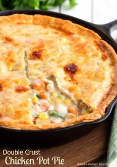 This Double Crust Chicken Pot Pie is made using one of my favorite kitchen tools, my cast iron skillet.The creamy homemade base for the chicken and vegetable filling cooks to sheer perfection.